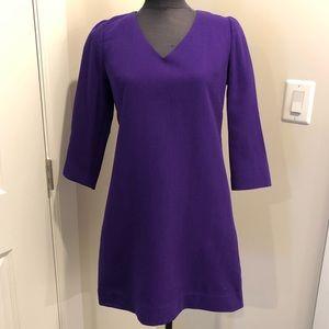 J Crew Purple Wool Crepe V Neck Dress - Size 2 EUC